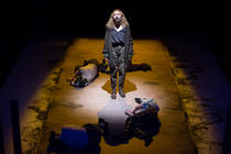 Photograph from St Joan of the Stockyards - lighting design by James Harrison