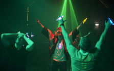 Photograph from Trainspotting Live - lighting design by clancy
