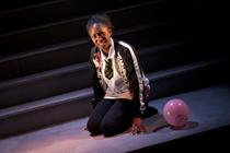 Photograph from Cuttin' It - lighting design by Azusa Ono