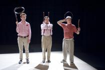 Photograph from By The Seat of Your Pants - lighting design by Laura Hawkins