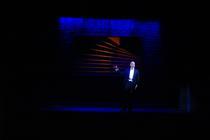 Photograph from Derren Brown: Underground - lighting design by Charlie Morgan Jones