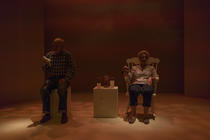 Photograph from Chesil Theatre's 2016 ​10x10 Playwriting Competition - lighting design by Peter Vincent